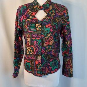 Urban 80s Cowgirl LS Western Keyhole Neck Shirt M